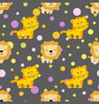 pattern with cute african tiger and lion vector image vector image