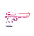pistol outline over white handgun powerful gun vector image vector image