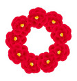 red camellia flower wreath
