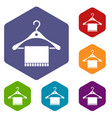 scarf on coat hanger icons set vector image