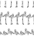 seamless pattern standing cartoon flamingos vector image vector image