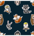 seamless pattern with cute baby animals for kids vector image vector image