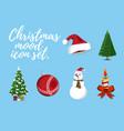 set of christmas mood 6 label xmas icon cartoon vector image vector image