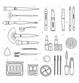 set of decorative cosmetics hand drawn style vector image vector image