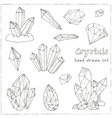 Set of geometric crystals gem and minerals vector image vector image