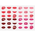 Set of glamour lips with different lipstick color vector image vector image
