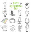 st patricks day hand drawn doodle icons set with vector image vector image