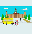 students from the school bus happily vector image
