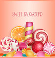 sweet background with lolipop ice cream vector image vector image