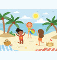 three happy children on vacation at seaside vector image