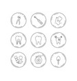 tooth extraction electric toothbrush icons vector image