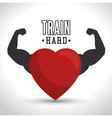 train hard heart arm icon gym vector image