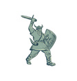 Viking Warrior Striking Sword Etching vector image