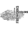 where colors of fireworks come from text word vector image vector image