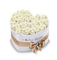 white roses bouquet box realistic vector image vector image