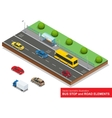 Bus stop Set of the isometric bus sedan taxi vector image
