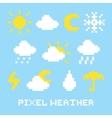 Pixel art weather set vector image