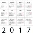 Calendar 2017 white background vector image