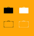 suitcase black and white set icon vector image