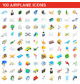 100 airplane icons set isometric 3d style vector image vector image