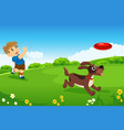 a boy playing with his dog vector image