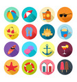 beach summer icons vector image