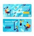 bright banners - freelancer motion studio vector image vector image