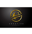 c golden letter logo design with circle swoosh vector image