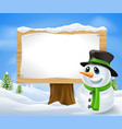 christmas snowman sign vector image vector image
