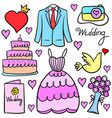 collection stock of wedding element doodles vector image vector image