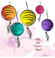 colorful and bright oriental lanterns happy mid vector image