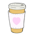 comic cartoon I love coffee cup vector image vector image