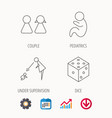 couple paediatrics and dice icons vector image vector image