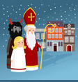 cute saint nicholas with angel devil old town vector image vector image