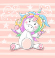 cute teddy unicorn - cartoon characters vector image vector image