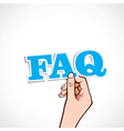 faq word in hand vector image vector image