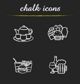 food and drinks chalk icons set vector image vector image