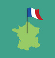 france map and flag french banner and land area vector image vector image