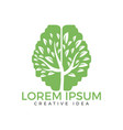 green brain tree logo design vector image vector image