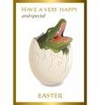 Happy Easter funny card Crocodile egg vector image