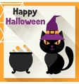 Happy halloween greeting card in flat design style vector image vector image