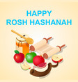 happy rosh hashanah concept background isometric vector image