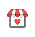 icon concept store with heart vector image vector image