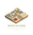 isometric house building background vector image vector image