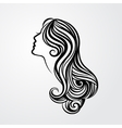 Lady with a long hair portrait vector image vector image