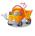 listening music truck on highway road with mascot vector image