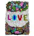 Love art on doodle vector image