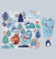 new year banner with decorative animals vector image