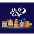 night city landscape on dark blue sky bac vector image