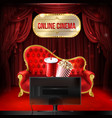 online cinema concept template mock up vector image vector image